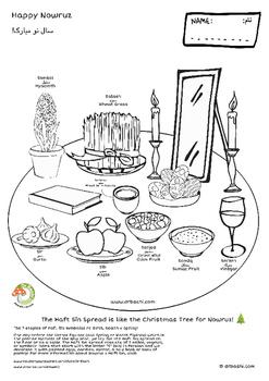 Haft Sin Spread Nowruz Coloring Pages 2 PDF Files In 1 Zip