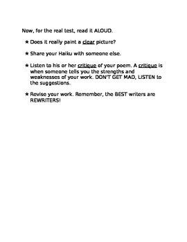 Haiku--First Time Writing Mini-lesson Worksheet