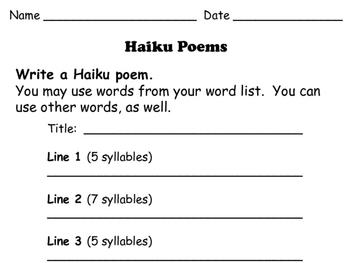 Haiku: How-To Worksheets