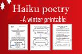 Haiku Middle School Poetry : Writing Winter Holidays Christmas PRINTABLES