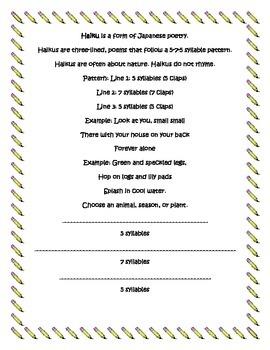 Haiku Poem Template