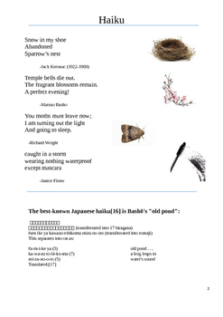 Haiku Poetry ESL adult Lesson