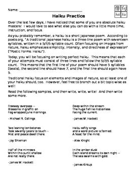 Haiku Writing Practice
