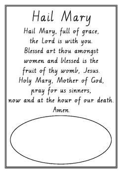 photograph regarding Lord's Prayer Sign Language Printable named Hail Mary Prayer Worksheets Training Supplies TpT