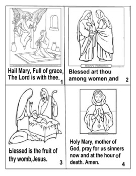 Hail Mary Foldable Or One Page Coloring 8 1 2 X 11 Folds Up Into 4 X 6 Inches