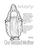 Hail Mary, Our Blessed Mother, Coloring Page & Prayer