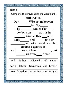 Hail Mary & Our Father Fill-In the Blanks Worsheets