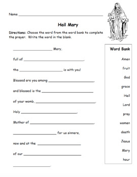 hail mary prayer fill in the blank activity by faith first in second grade. Black Bedroom Furniture Sets. Home Design Ideas