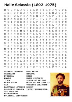 Haile Selassie Word Search