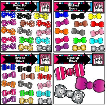 Hair Bow and Bow Tie Clip Art BUNDLE (Erin's Ink Clipart)