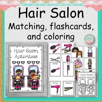 Hair Salon Matching, Flashcards, and Coloring