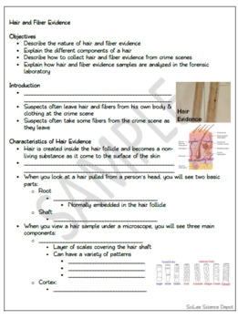 Hair and Fiber Evidence: PowerPoint, illustrated Student Notes, Worksheet