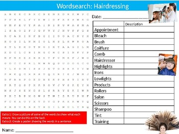 Hairdressing Wordsearch Puzzle Sheet Keywords Career Hair & Beauty