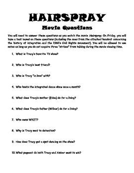 Hairspray Study Guide/Test