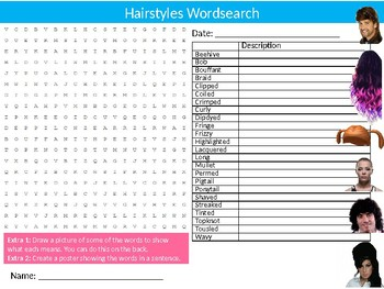 Hairstyles Wordsearch Sheet Starter Activity Keywords Fashion