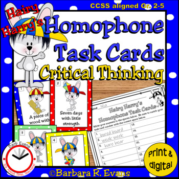 HOMOPHONE TASK CARDS Hairy Harry's Critical Thinking Grammar Vocabulary