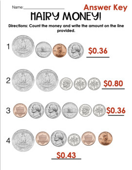 Hairy Money Math Interactive Notebook Pages