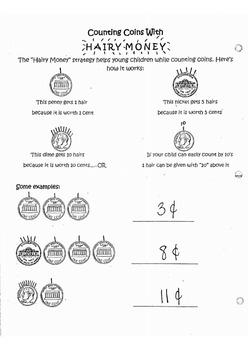 Hairy Money/Coins- for Kindergarten!
