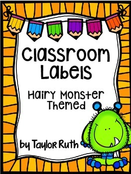 Hairy Monster Themed Classroom Supply Labels