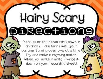 Hairy Scary Rhyme Time {FREEBIE}