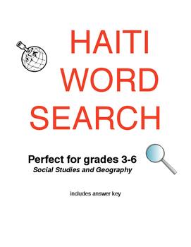 Word Search - Haiti - Social Studies Activity
