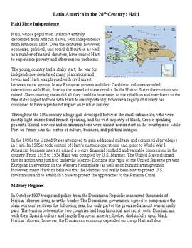 Haiti and dictatorship guided reading