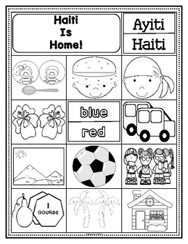 Haitian Heritage Month: Haiti is Home Retelling Sheets (EN) (K-1) (b/w)