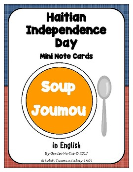 Haitian Independence Day Mini Note Cards in English: Soup Joumou (Haiti)
