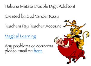 Hakuna Matata Double Digit Plus Single Digit Addition
