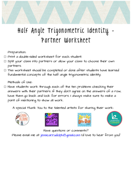 Half Angle Trigonometric Identity Partner Worksheet