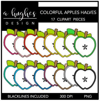 Colorful Apples Halves 1 Clipart {A Hughes Design}