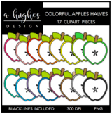 Colorful Apples Halves 1 Clipart {A Hughes Design}
