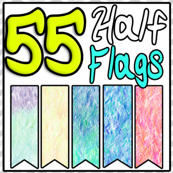 Half Banners Flags Ribbon Clipart 55 Styles