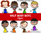 Half Body Clipart - Doodle Boys Clipart - Upper Body Boy Clipart