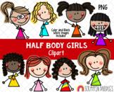 Half Body Clipart - Doodle Girls Clipart - Upper Body Girl