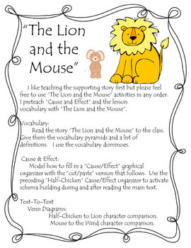 Half Chicken Journey's Level 2 Lesson 24  (The Lion & the Mouse Activities)