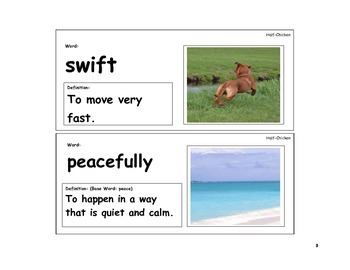 Half-Chicken Vocabulary Cards