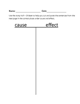 Half Chicken cause and effect activity and game