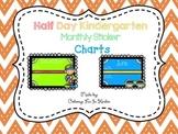 Half Day Kindergarten Monthly Sticker Charts