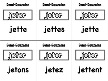 French Accent & Spelling-Change Verbs Card Game, Half Dozen