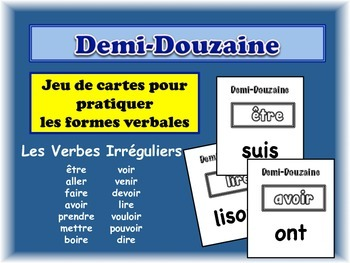 French Irregular Verbs Card Game, Half Dozen