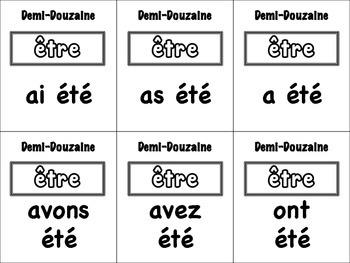 French Passé Composé (Irregular Past Participles) Card Game, Half Dozen