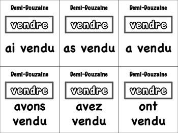 French Passé Composé (Regular Verbs) Card Game, Half Dozen