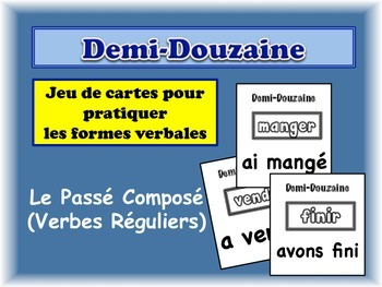 French Passé Composé (Regular Verbs) Card Game, Half Dozen