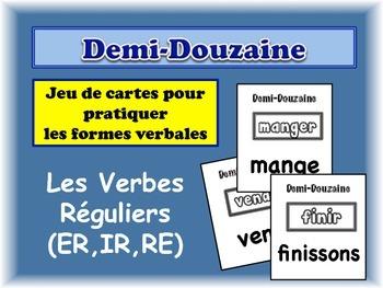 French Regular Verbs (ER, IR, RE ) Card Game, Half Dozen