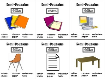 French Classroom Objects Card Game, Half Dozen