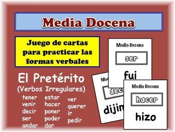 Spanish Preterite (Irregular) Card Game, Half Dozen