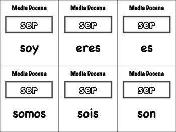 Spanish Irregular Verbs Card Game, Half Dozen