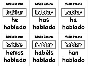 Spanish Present Perfect (Regular & Irregular) Card Game, Half Dozen