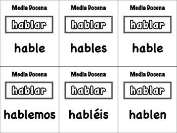 Spanish Subjunctive (Regular & Irregular) Card Game, Half Dozen